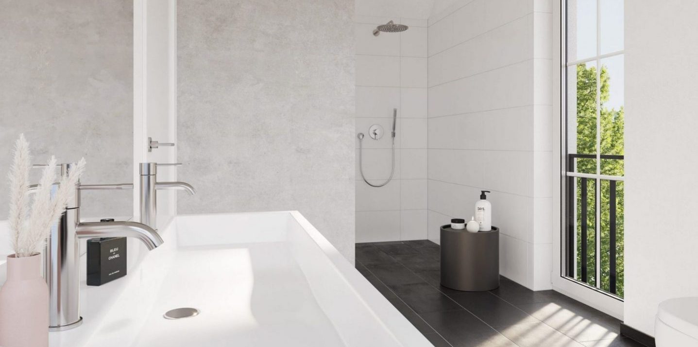 L HOMES Sonnenweg Neubau Doppelhaushälfte Badezimmer